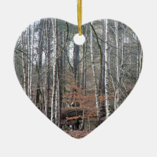 Delamere Forest Wetland Double-Sided Heart Ceramic Christmas Ornament