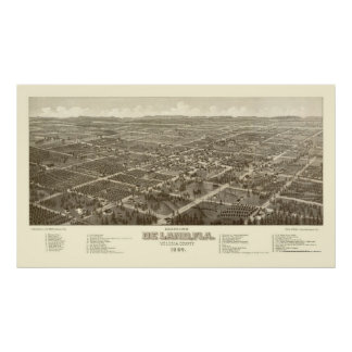 DeLand, mapa panorámico de FL - 1884 Poster