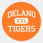 Delano - tigres - mayor - Delano Minnesota Pegatina Redonda