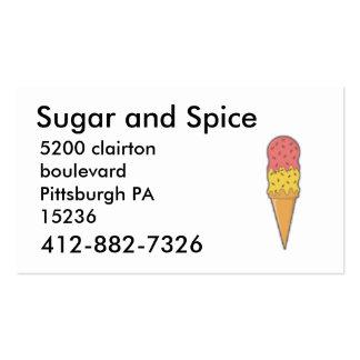 delantal, 412-882-7326, azúcar y especia, clai tarjetas de visita