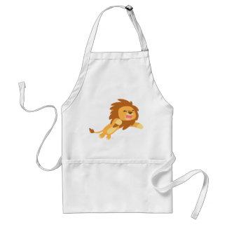 Delantal alegre lindo del león del dibujo animado