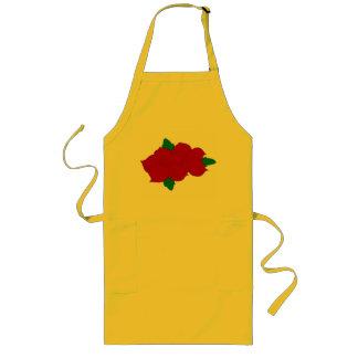 Delantal amarillo con las flores rojas