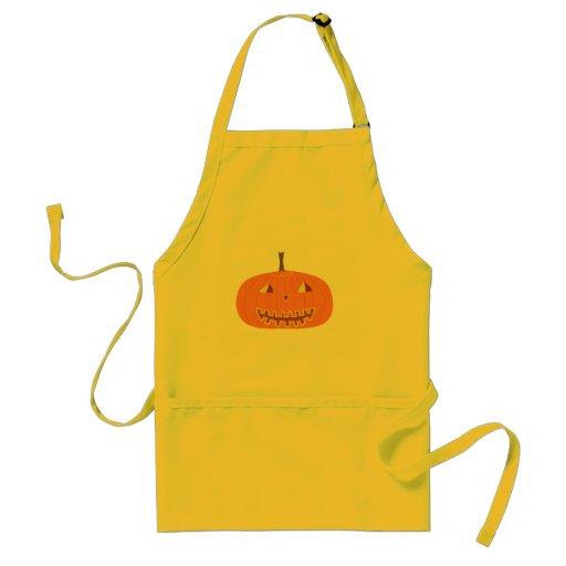 Delantal amarillo de Halloween con la calabaza