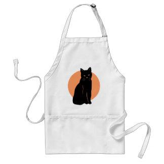 Delantal anaranjado de la Luna Llena del gato negr