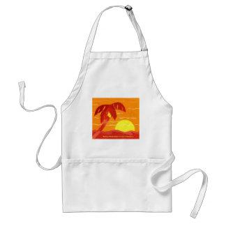 Delantal anaranjado tropical de la puesta del sol
