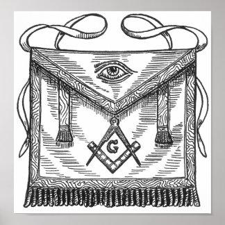 Delantal azul de la casa de campo del Freemasonry Póster