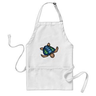 Delantal azul de la tortuga verde
