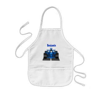 Delantal azul del delantal del coche de carreras