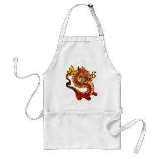 Delantal chino rojo del Bbq del dragón