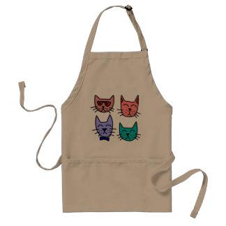 Delantal colorido de la cocina de los gatos