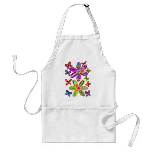 Delantal colorido de las flores y de las mariposas