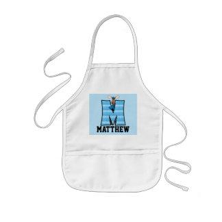 """Delantal con monograma de """"M"""" de los alces azules"""