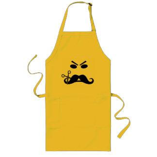Delantal de encargo sonriente del bigote enojado -