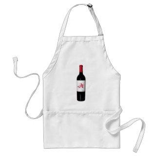 Delantal de la botella de vino del monograma