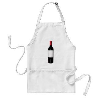 Delantal de la botella de vino (etiqueta en blanco