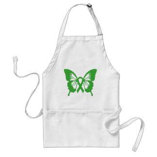 Delantal de la mariposa del verde del cáncer del