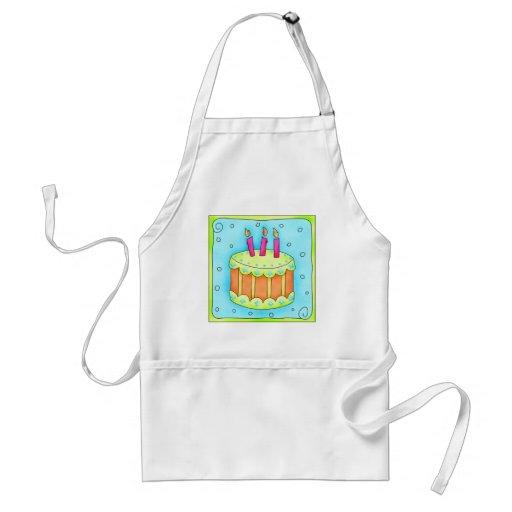 Delantal de la torta de cumpleaños de la turquesa