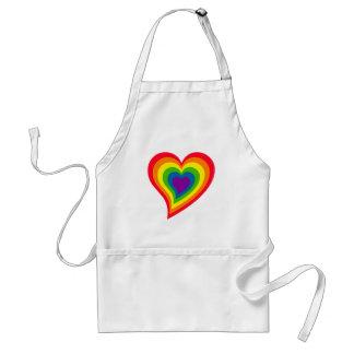 Delantal del corazón del arco iris
