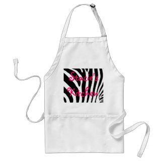 Delantal del estampado de zebra con su nombre