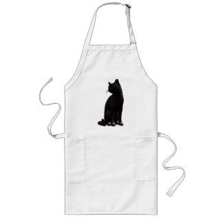 Delantal del gato negro que se sienta