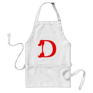 Delantal del monograma D (rojo)