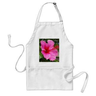 Delantal feliz del hibisco del rosa del día de mad