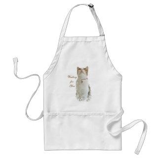 Delantal floral blanco del gato