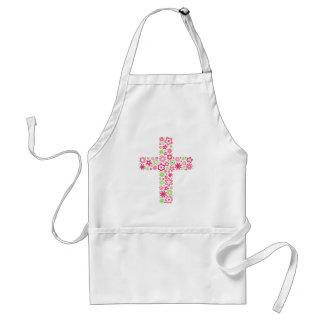 Delantal floral cristiano verde rosado de la cruz