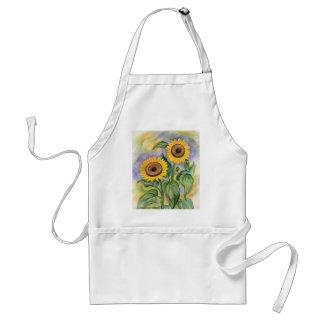 Delantal floral del arte de la pintura del girasol