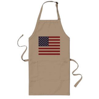 Delantal largo de color caqui de la bandera americ