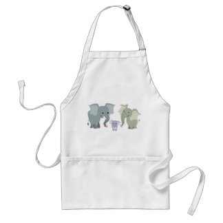 Delantal lindo de la familia del elefante del dibu