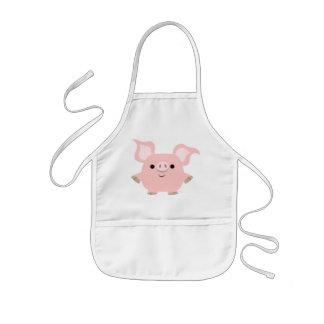 Delantal lindo de los niños del cerdo del dibujo