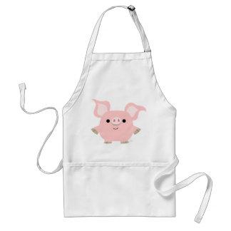 Delantal lindo del cerdo del dibujo animado de