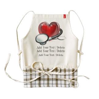 Delantal médico del corazón de la recaudador de delantal zazzle HEART