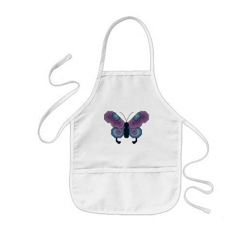 Delantal púrpura y azul de la mariposa