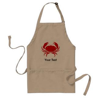 Delantal rojo del cangrejo con beige personalizabl