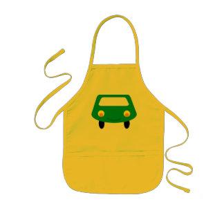 Delantal verde sonriente del coche del dibujo anim