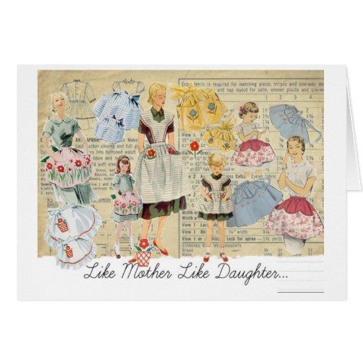 Delantales del vintage de la hija de la madre tarjeta de felicitación
