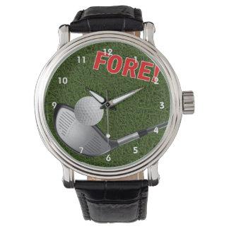 DELANTERA con la cabeza y la bola de club de golf Reloj De Mano