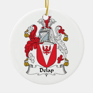 Delap Family Crest Double-Sided Ceramic Round Christmas Ornament
