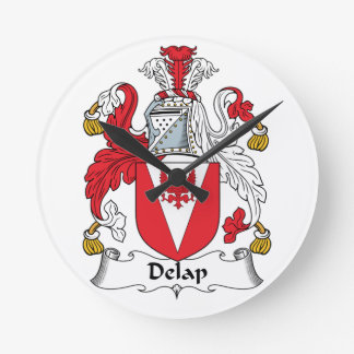 Delap Family Crest Round Wall Clocks