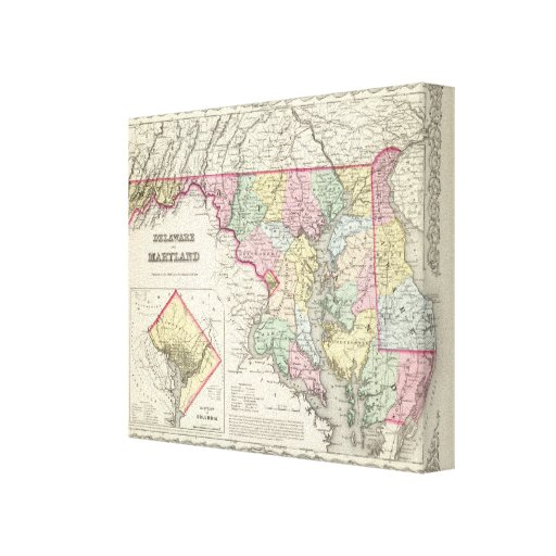 Delaware And Maryland with District of Columbia Stretched Canvas Print