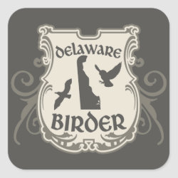 Square Sticker with Delaware Birder design