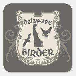 Square Sticker with Delaware Birder design