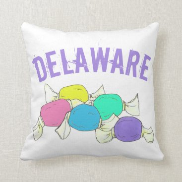 Beach Themed Delaware Boardwalk Salt Water Taffy Candy Beach DE Throw Pillow