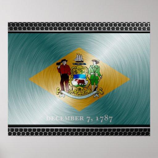 Delaware cepilló la bandera del metal poster