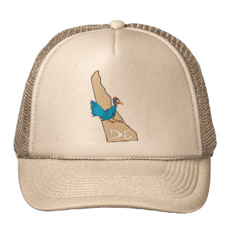 Delaware DE Map & Blue Hen Cartoon Art Motto Trucker Hat
