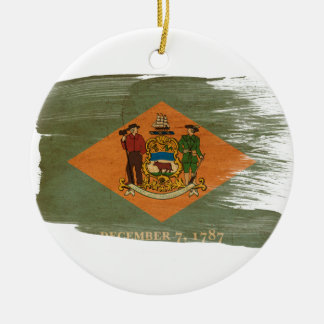 Delaware Flag Double-Sided Ceramic Round Christmas Ornament