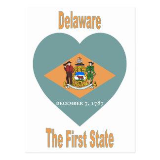 Delaware Flag Heart Postcard