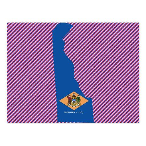 Delaware Flag Map Postcard